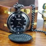 Pocket Watch, Matt Black Quartz, Personalised Engraved ref PWMB